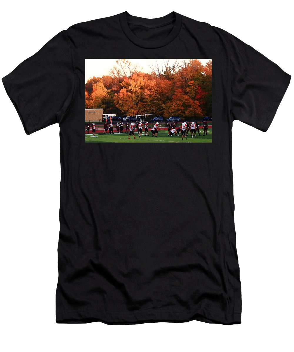 America Men's T-Shirt (Athletic Fit) featuring the photograph Autumn Football With Dry Brush Effect by Frank Romeo