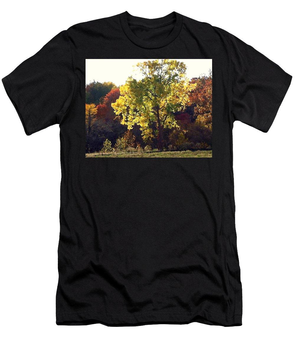 Landscape Men's T-Shirt (Athletic Fit) featuring the photograph Autumn Gold by Steve Karol