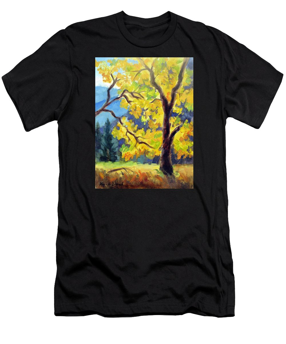 Yosemite Men's T-Shirt (Athletic Fit) featuring the painting Autumn Gold Yosemite Valley by Karin Leonard