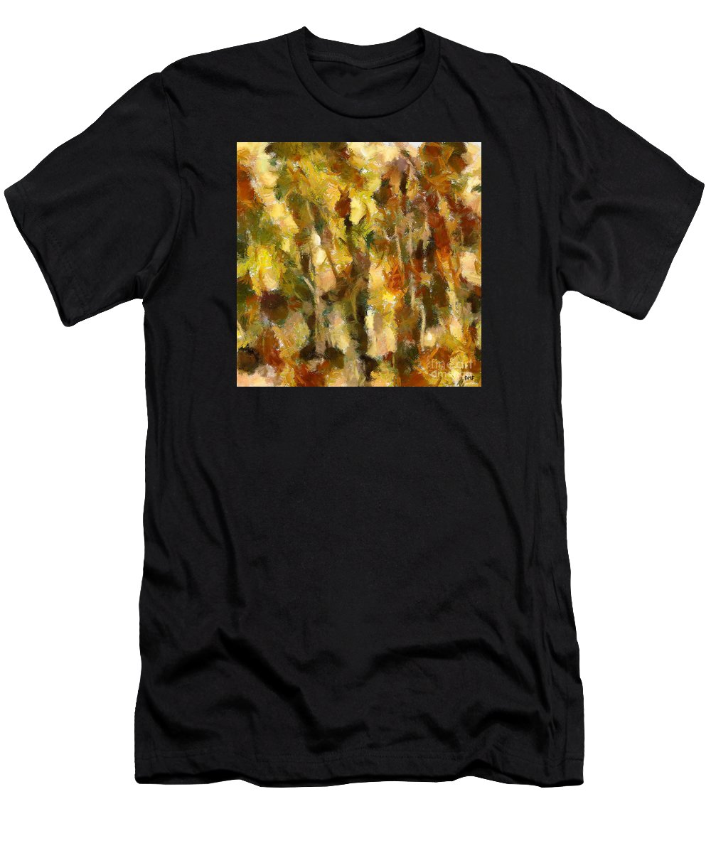 Abstract Landscape Men's T-Shirt (Athletic Fit) featuring the painting Autumn Impression 2 by Dragica Micki Fortuna