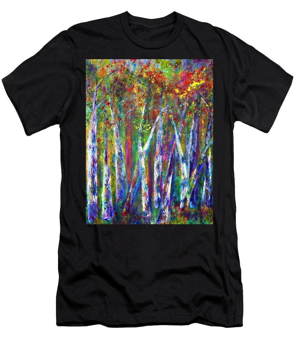 Claire Bull Men's T-Shirt (Athletic Fit) featuring the painting Autumn In Muskoka by Claire Bull