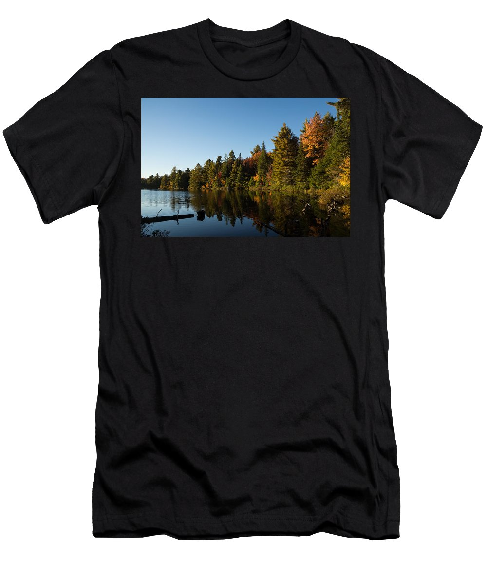 Fall Forest Lake Men's T-Shirt (Athletic Fit) featuring the photograph Autumn Lake In The Forest - Reflection Tranquility by Georgia Mizuleva