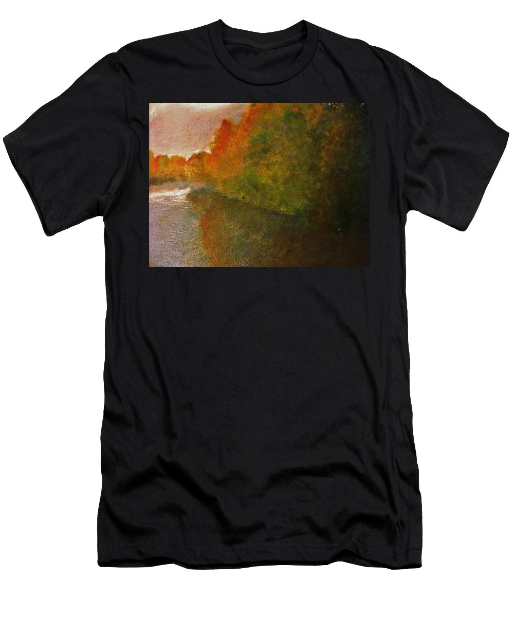 Autumn Men's T-Shirt (Athletic Fit) featuring the painting Autumn Lake View by Crystal Menicola