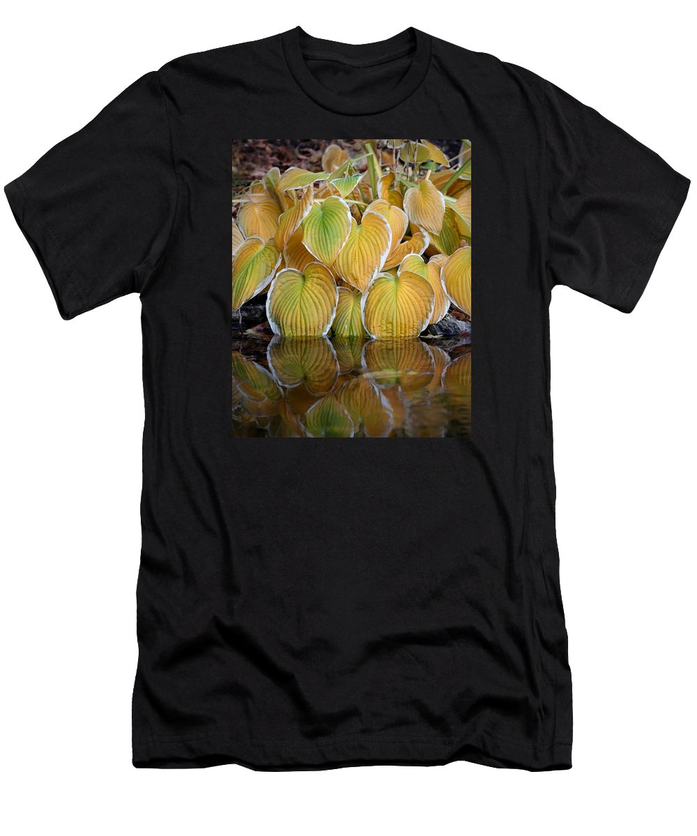 Autumn Men's T-Shirt (Athletic Fit) featuring the photograph Autumn Leafs Dipping Their Feet by Dreamland Media
