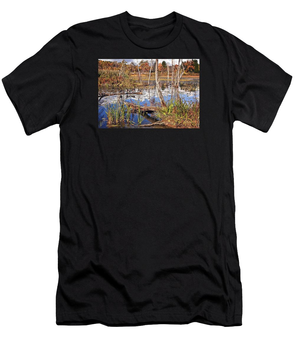 Landscape Men's T-Shirt (Athletic Fit) featuring the photograph Autumn Morning At The Marsh by Marcia Colelli