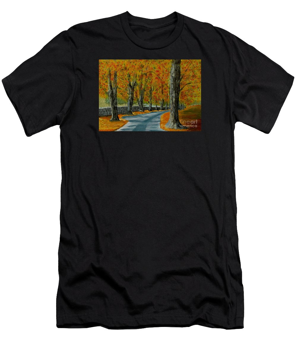 Autumn Men's T-Shirt (Athletic Fit) featuring the painting Autumn Pathway by Anthony Dunphy