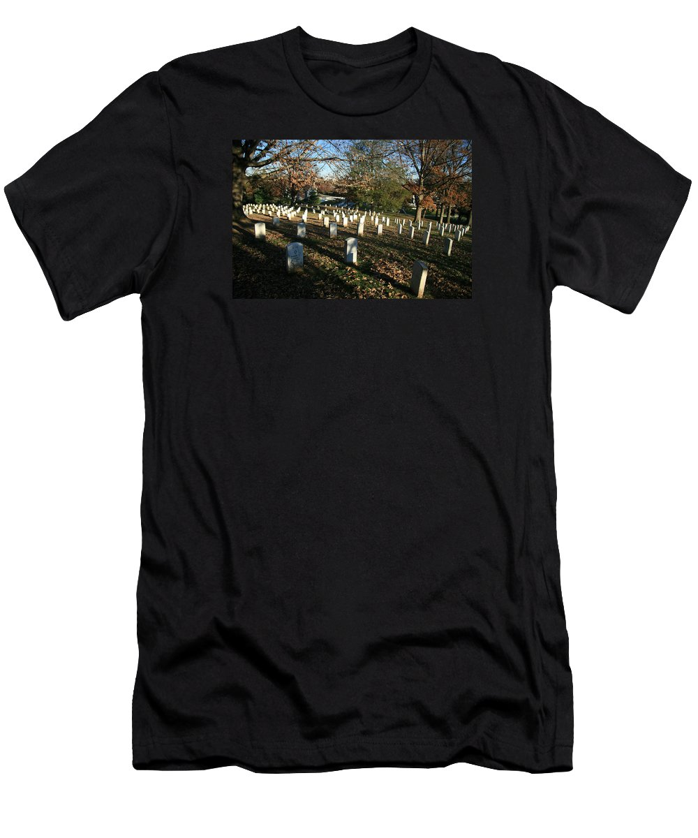 Arlington National Cemetery Men's T-Shirt (Athletic Fit) featuring the photograph Dark Muddy Arlington -- With Light by Cora Wandel