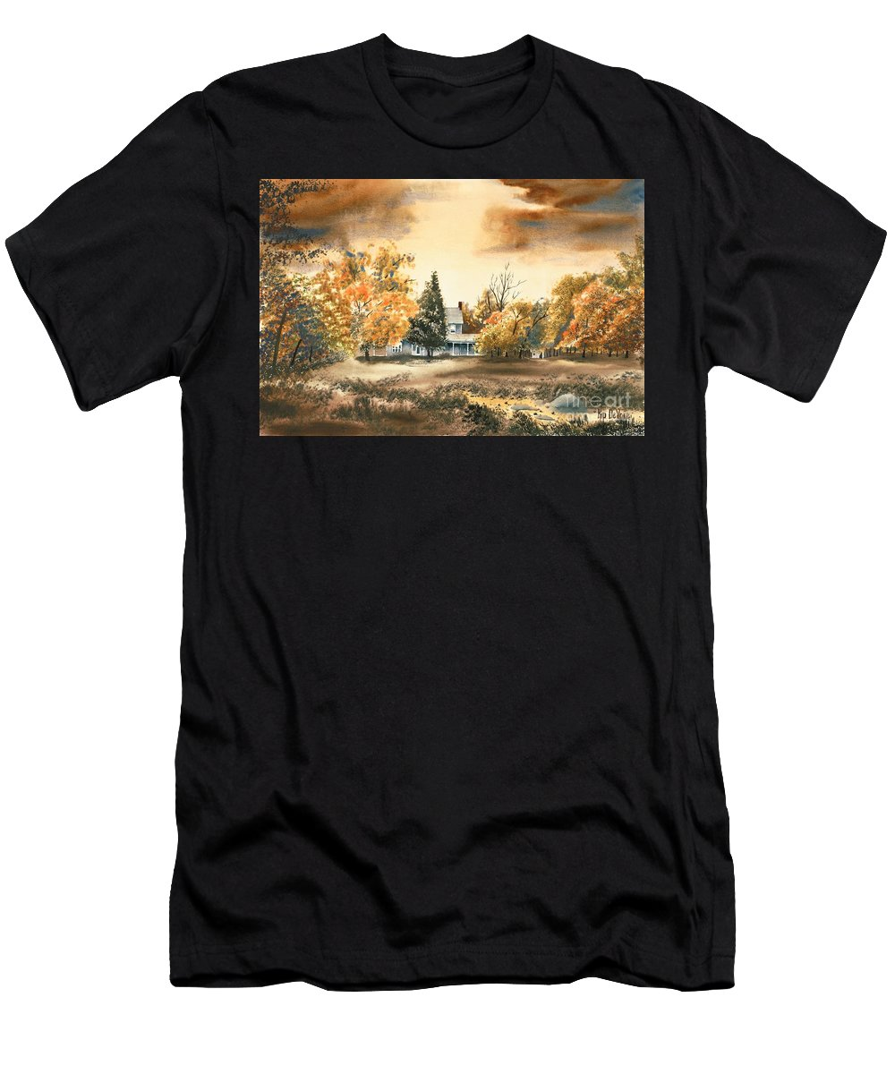 Autumn Sky No W103 Men's T-Shirt (Athletic Fit) featuring the painting Autumn Sky No W103 by Kip DeVore