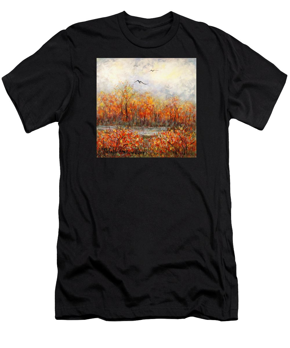 Landscapes Men's T-Shirt (Athletic Fit) featuring the painting Autumn Song by Natalie Holland