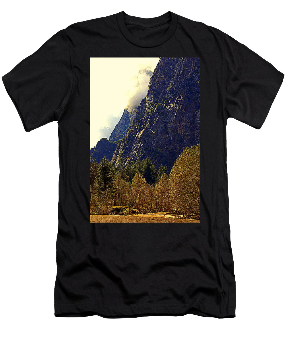 Mountains Men's T-Shirt (Athletic Fit) featuring the photograph Autumn Sun Glow by Lynn Bawden