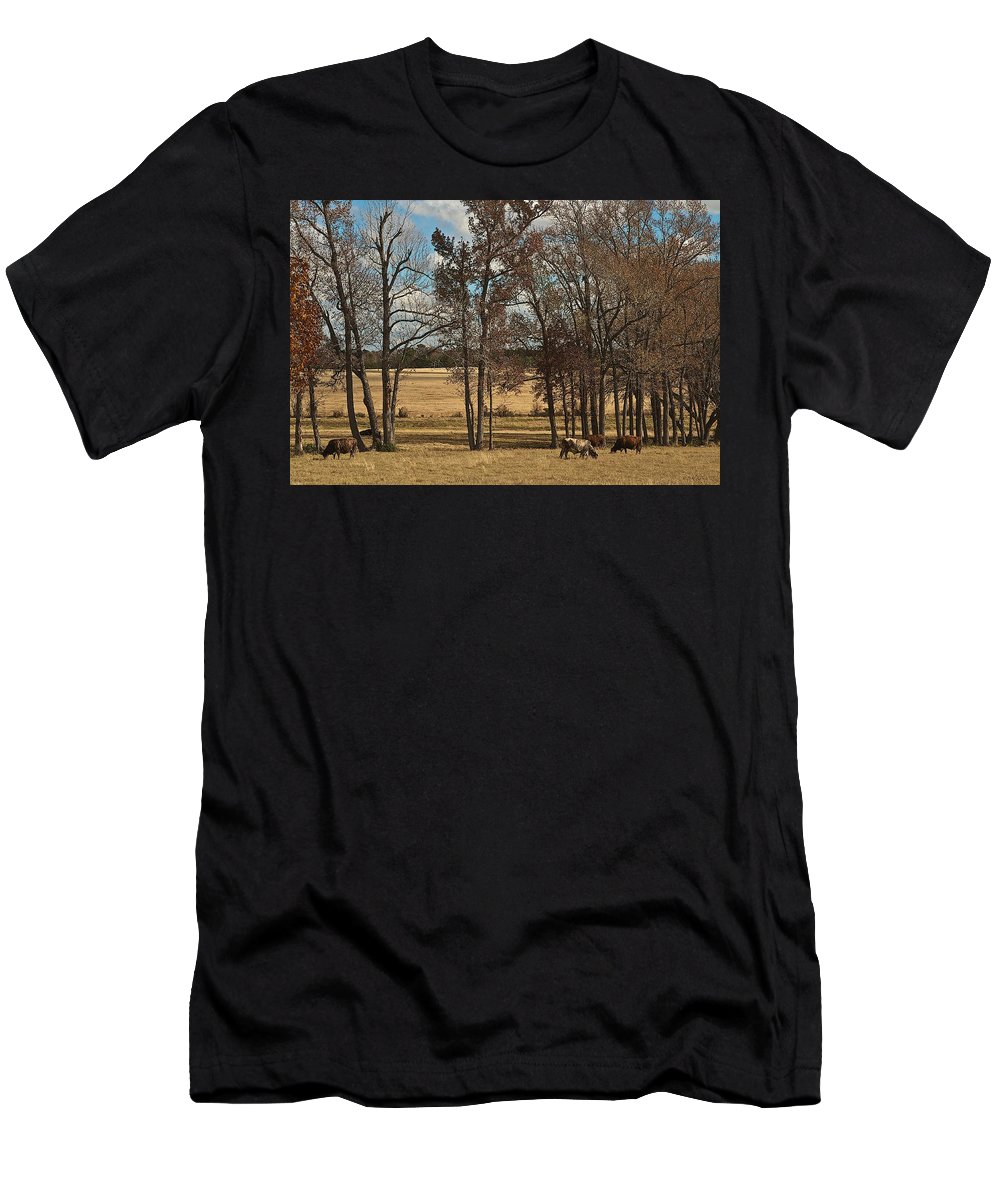 Landscape Men's T-Shirt (Athletic Fit) featuring the photograph Autumn Texas Pasture by Janal Koenig