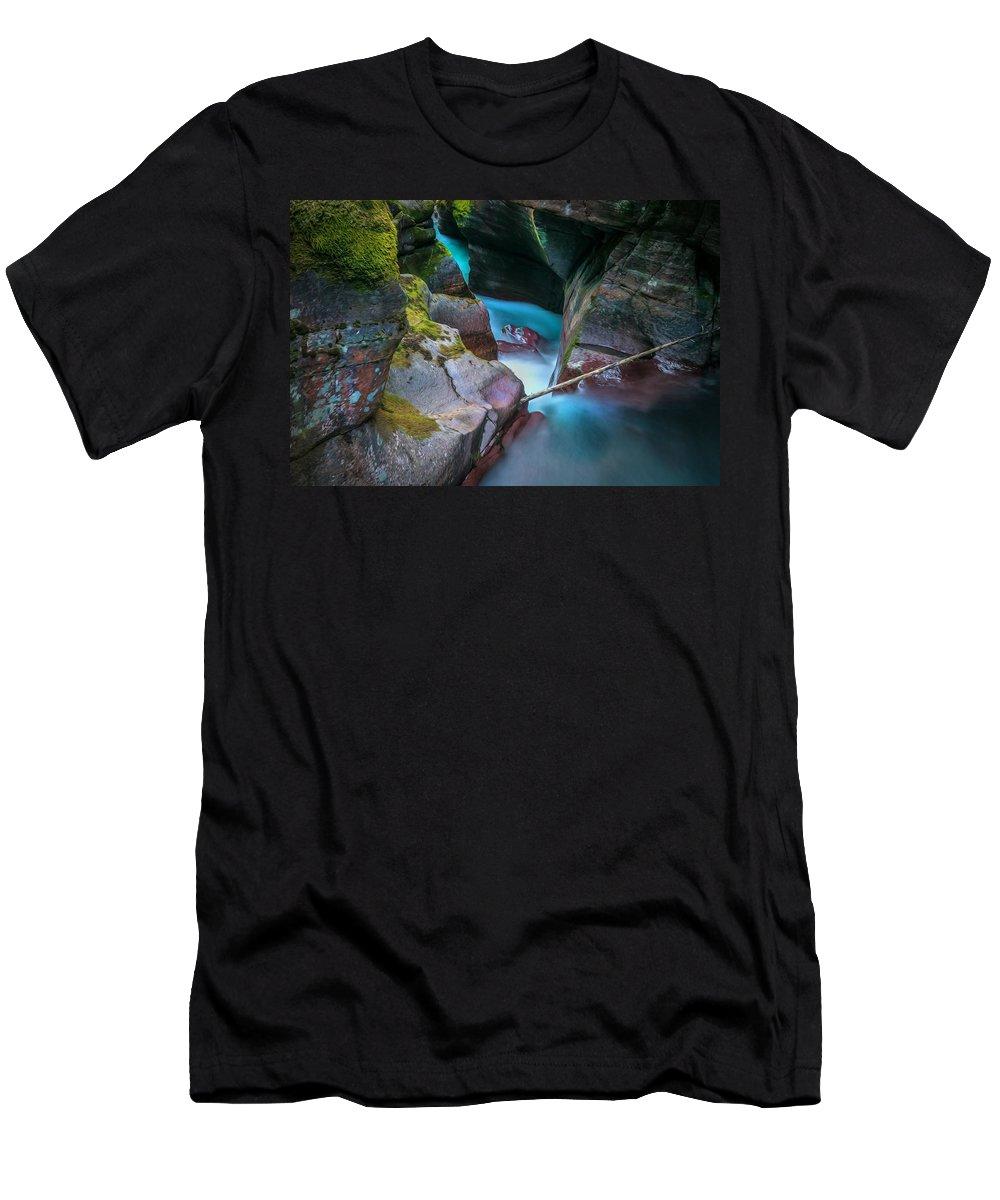 Glacier National Park Men's T-Shirt (Athletic Fit) featuring the photograph Avalanche Gorge Glacier National Park Painted  by Rich Franco