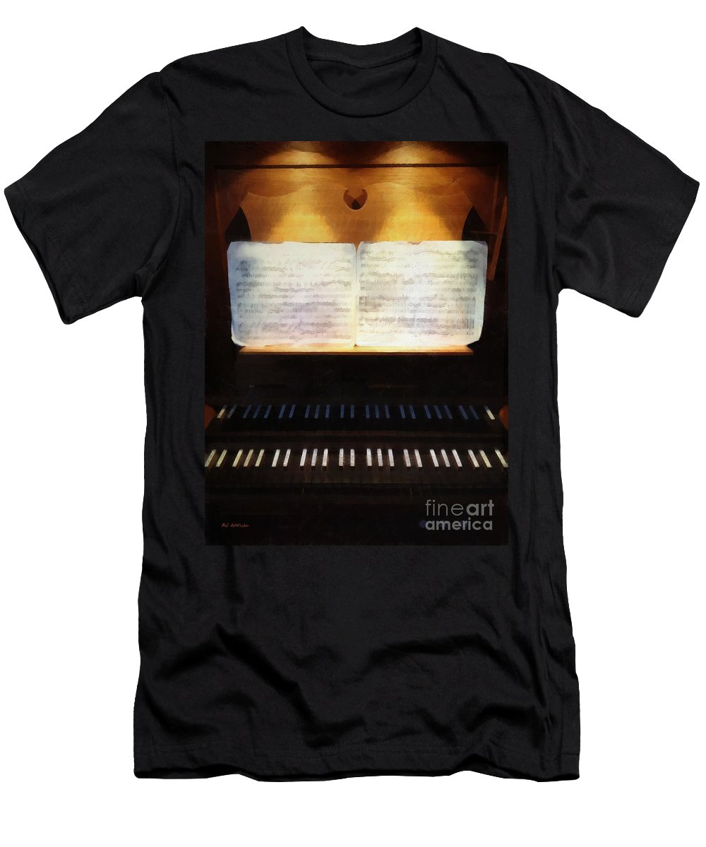 Organ Men's T-Shirt (Athletic Fit) featuring the painting Awaiting Bach by RC DeWinter