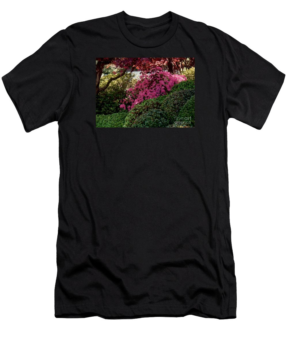 Azaleas Men's T-Shirt (Athletic Fit) featuring the photograph Azaleas And Red Maple Tree by Ruth Housley