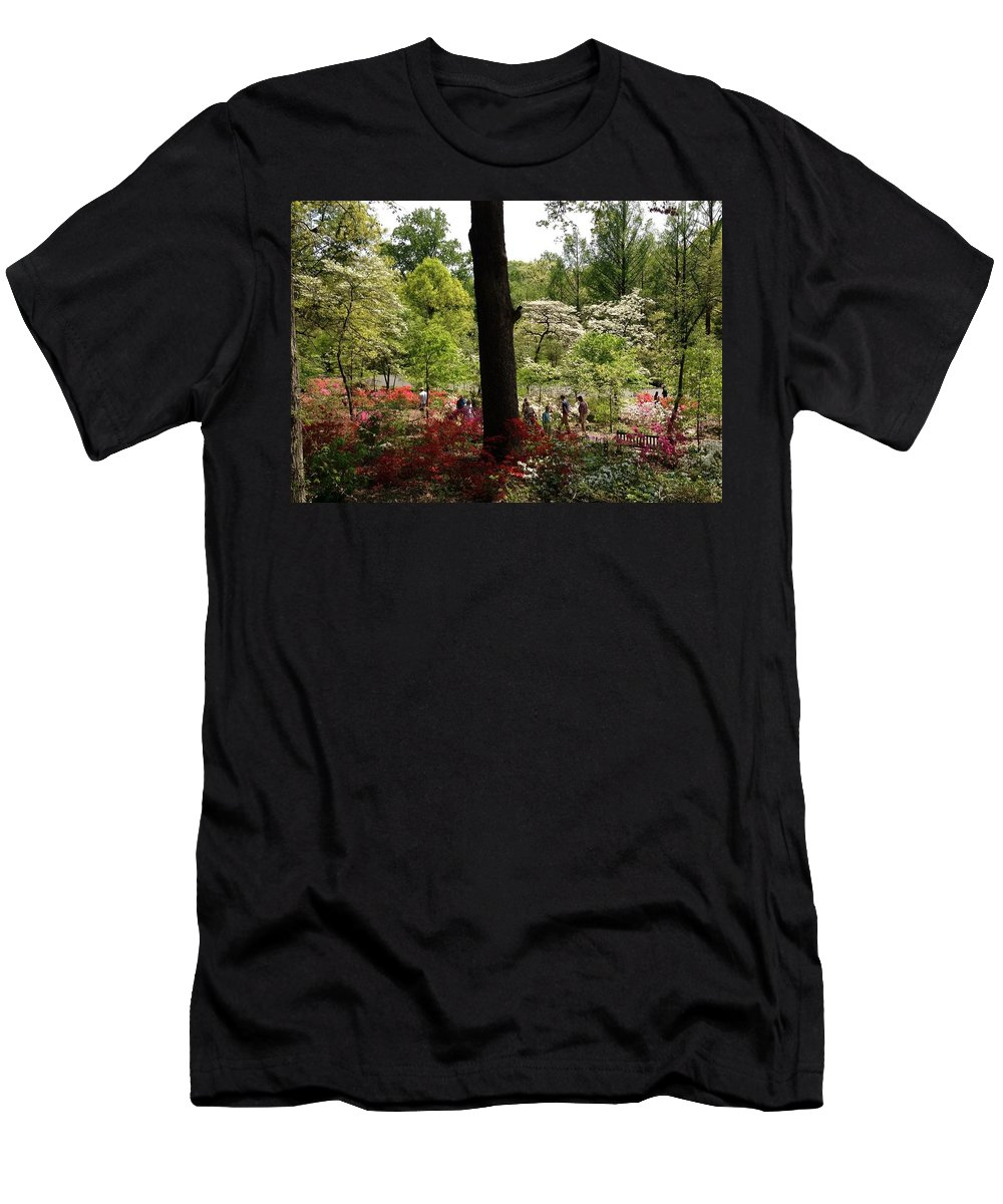 Azaleas Men's T-Shirt (Athletic Fit) featuring the photograph Azaleas Us National Arboretum by Lois Ivancin Tavaf