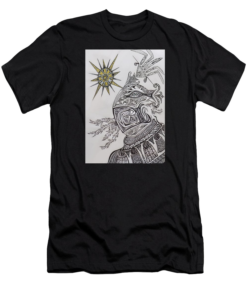 Aztec Men's T-Shirt (Athletic Fit) featuring the drawing Aztec by Michelle S White
