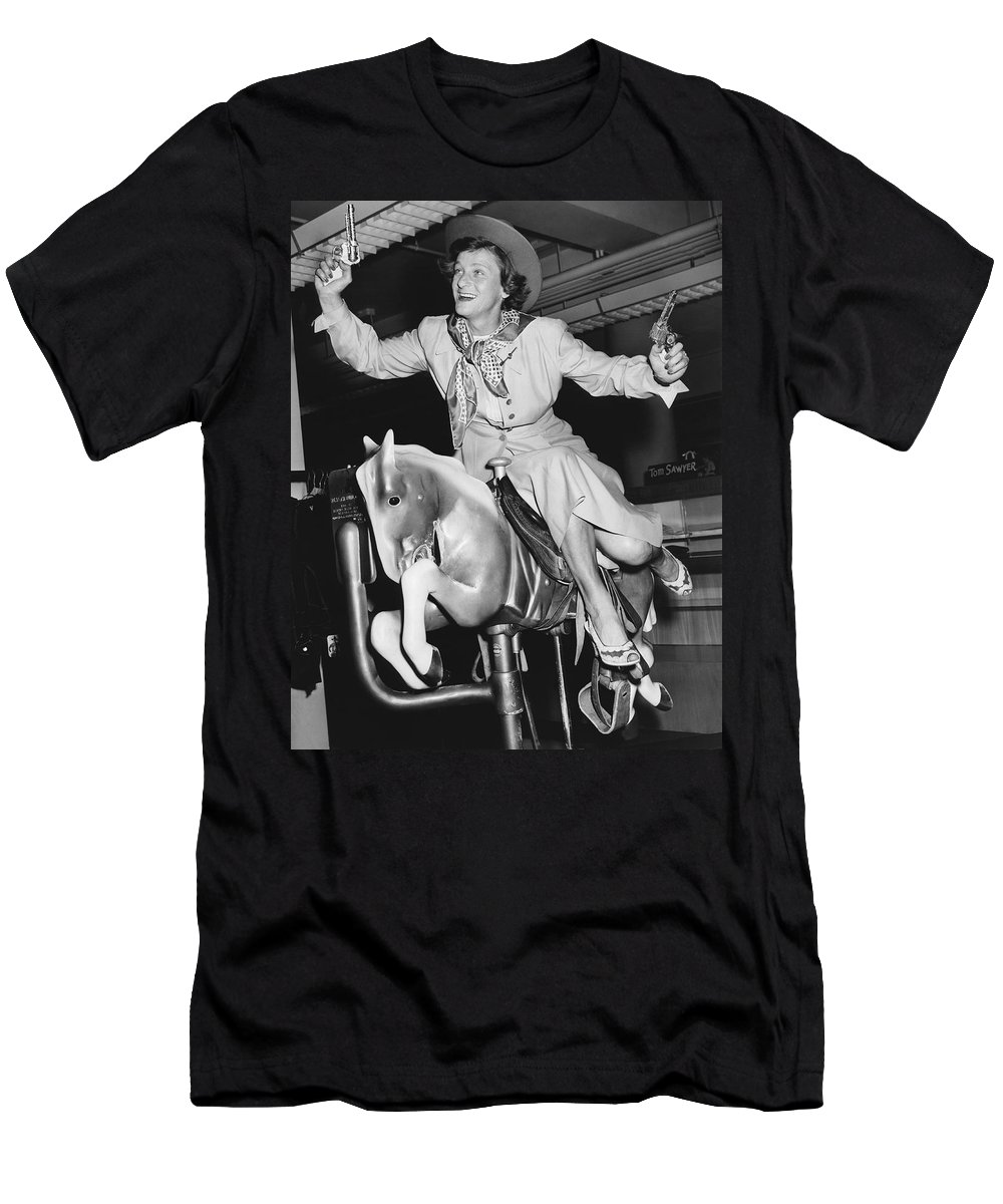 1 Person Men's T-Shirt (Athletic Fit) featuring the photograph Babe Didrikson On Sidesaddle by Underwood Archives