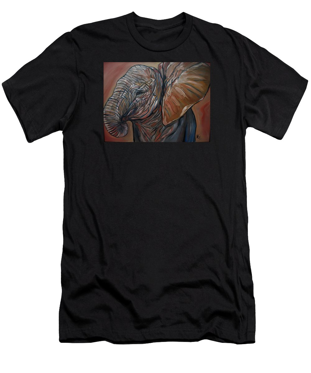 Wild Life Men's T-Shirt (Athletic Fit) featuring the painting Baby Elephant by Aimee Vance