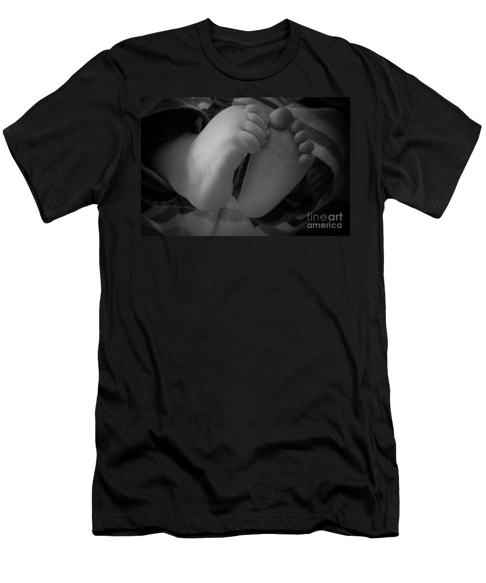 Baby Men's T-Shirt (Athletic Fit) featuring the photograph Baby Feet by Barbara Bardzik