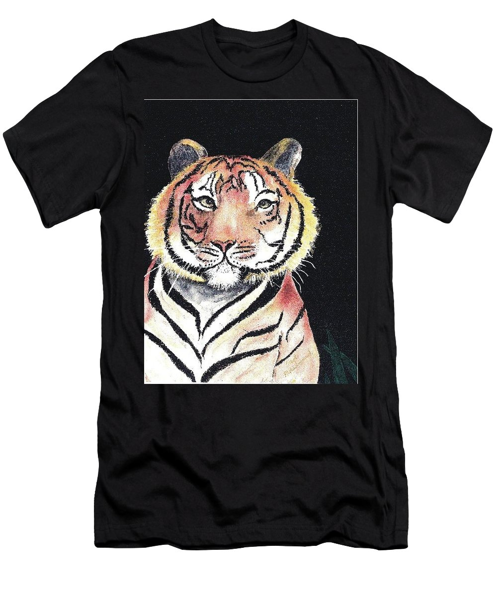 Men's T-Shirt (Athletic Fit) featuring the painting Baby Tiger by Carol Lindquist