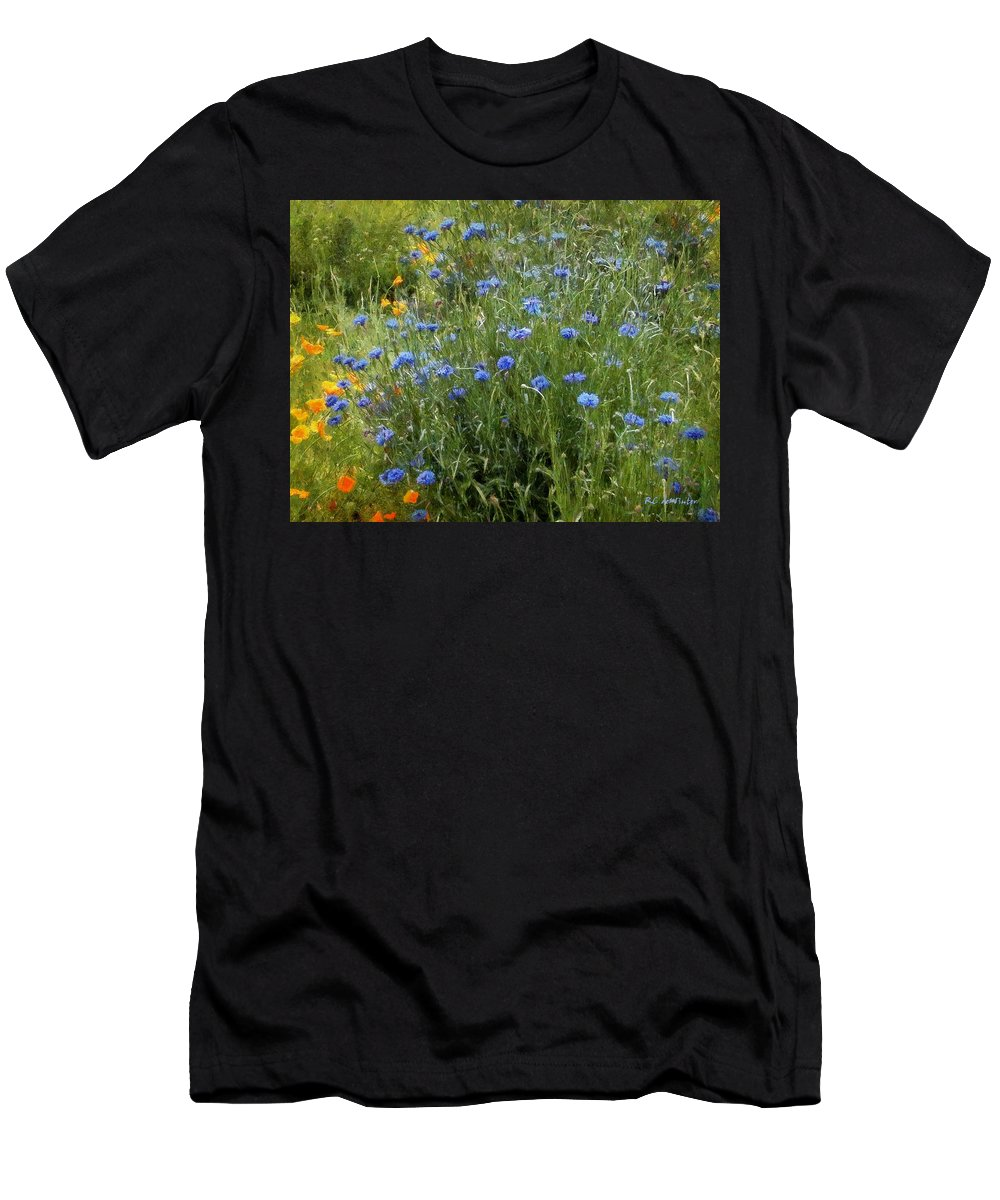 Landscape Men's T-Shirt (Athletic Fit) featuring the painting Bachelor's Meadow by RC DeWinter