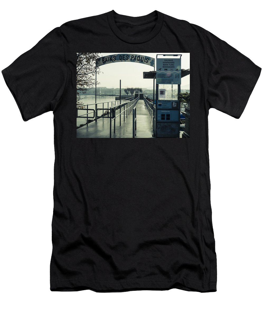 Geneva Men's T-Shirt (Athletic Fit) featuring the photograph Bains Des Paquis by Muhie Kanawati