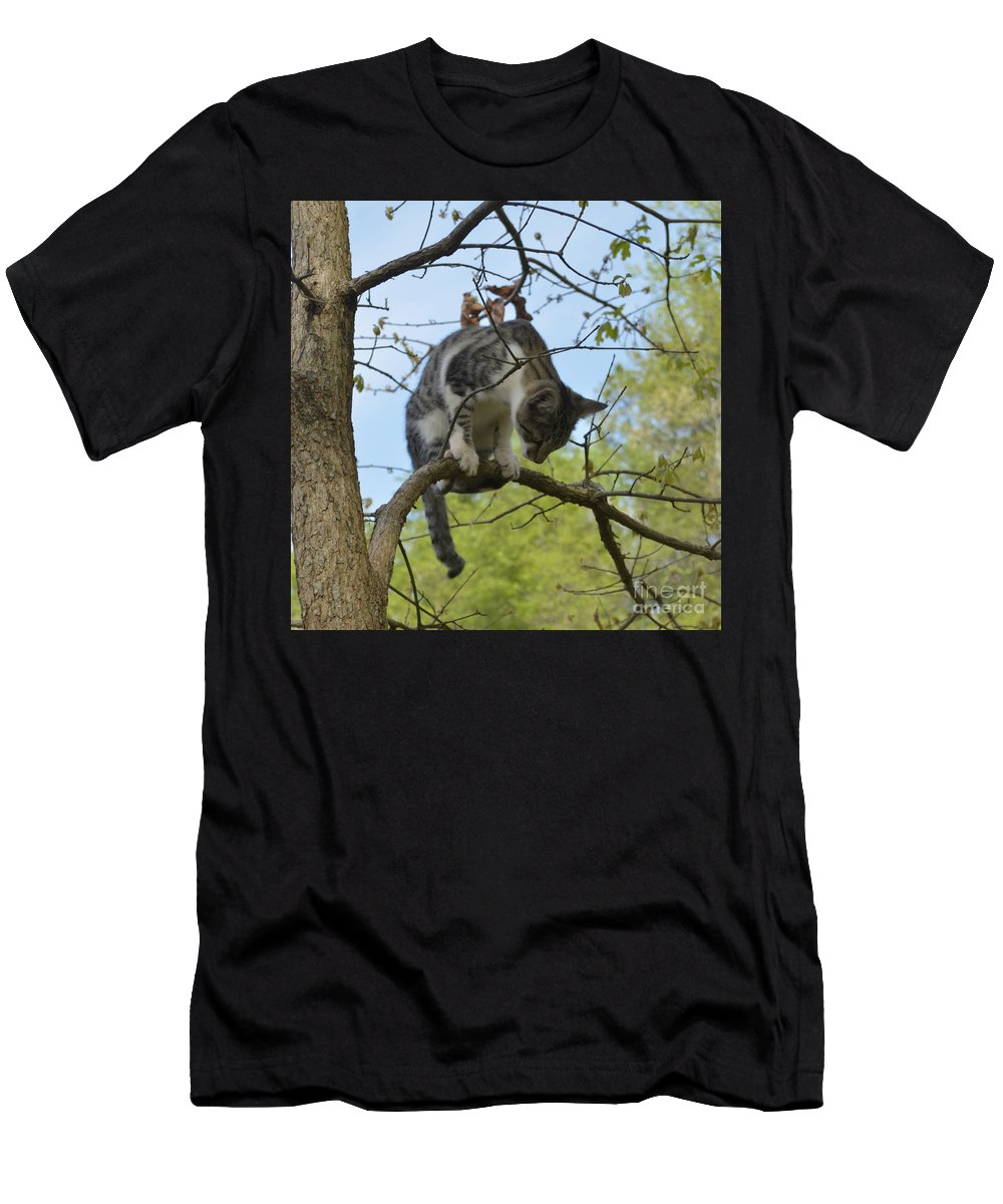Animal Men's T-Shirt (Athletic Fit) featuring the photograph Balancing Act by Donna Brown