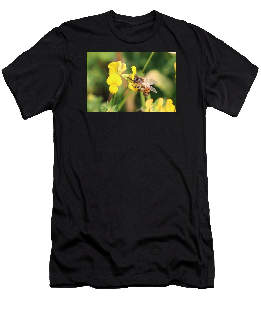 Honeybee Men's T-Shirt (Athletic Fit) featuring the photograph Balancing Act by Lucinda VanVleck