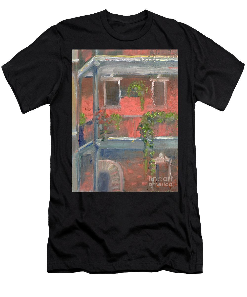 New Orleans Men's T-Shirt (Athletic Fit) featuring the painting Balcony I by Lilibeth Andre