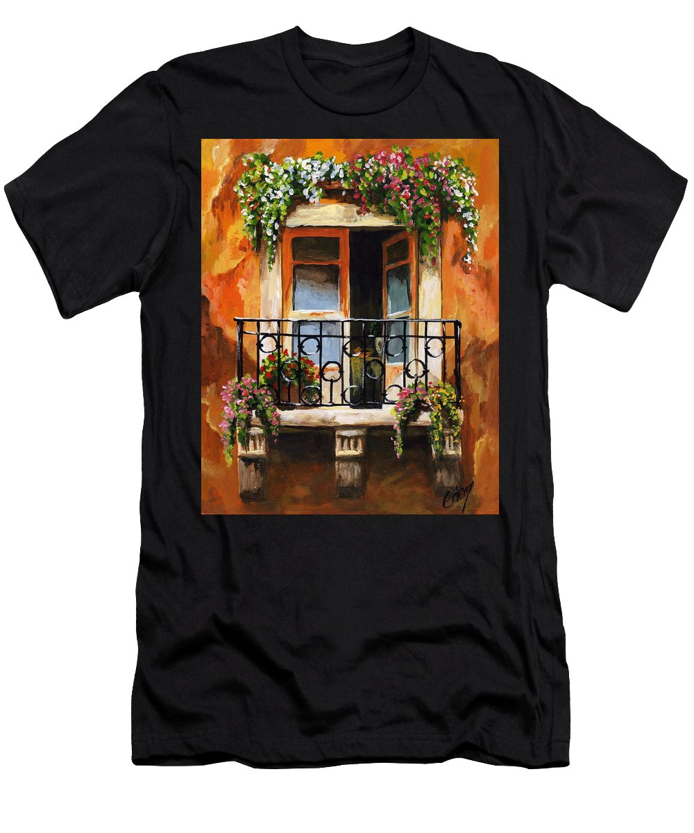 Balcony Men's T-Shirt (Athletic Fit) featuring the painting Balcony Of Livorno by Voros Edit