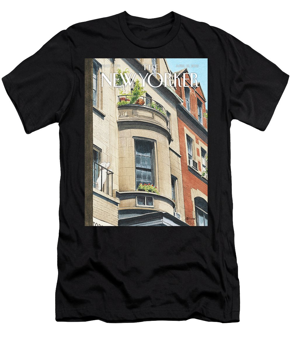 Dog Men's T-Shirt (Athletic Fit) featuring the painting Balcony Scene by Harry Bliss