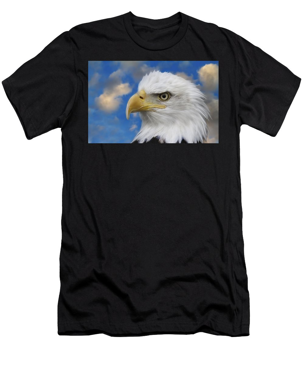 Bald Eagle Men's T-Shirt (Athletic Fit) featuring the photograph Bald Eagle In The Clouds by Steve McKinzie
