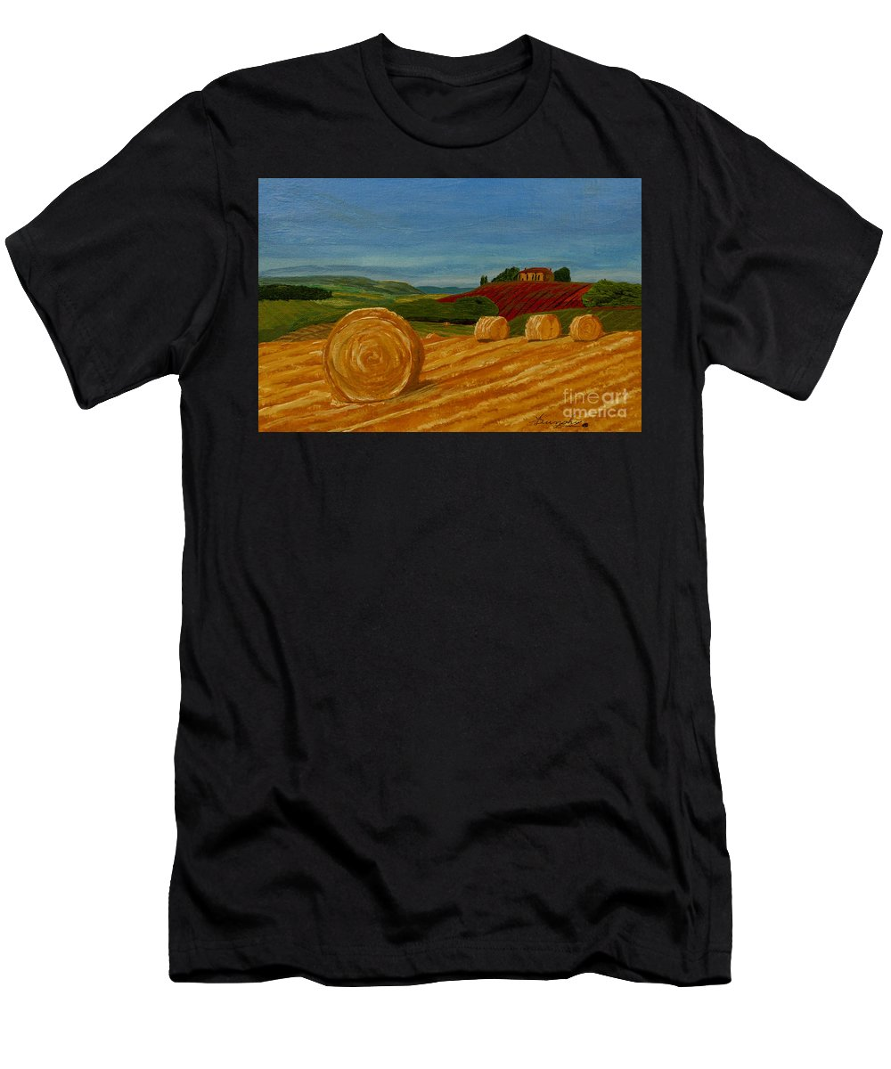 Hay Men's T-Shirt (Athletic Fit) featuring the painting Field Of Golden Hay by Anthony Dunphy