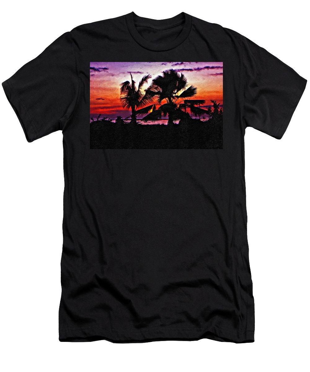 Indonesia Men's T-Shirt (Athletic Fit) featuring the photograph Bali Sunset Impasto Paint Version by Steve Harrington