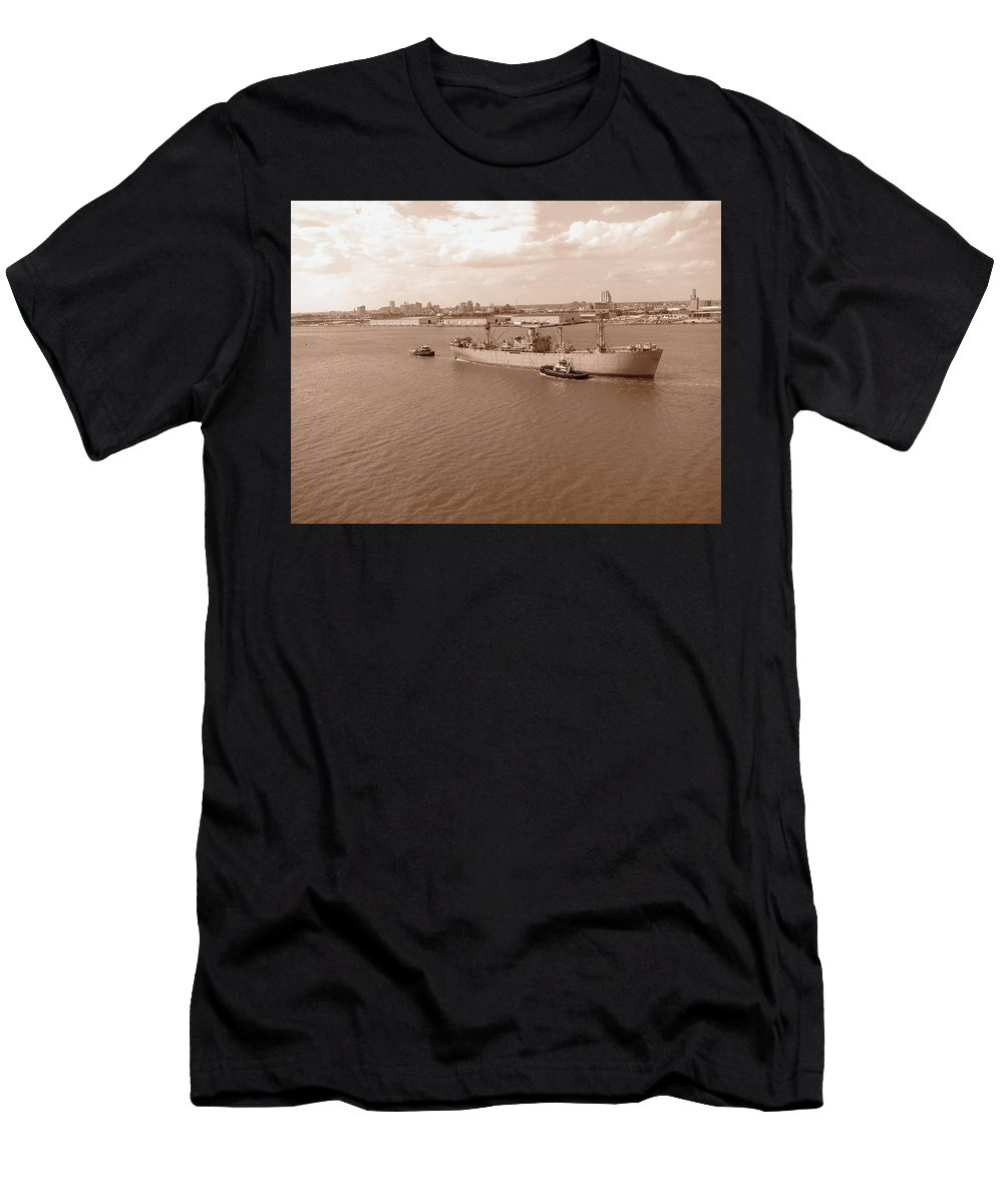 Ship Men's T-Shirt (Athletic Fit) featuring the photograph Baltimore Harbor In Sepia by Gordon Cain