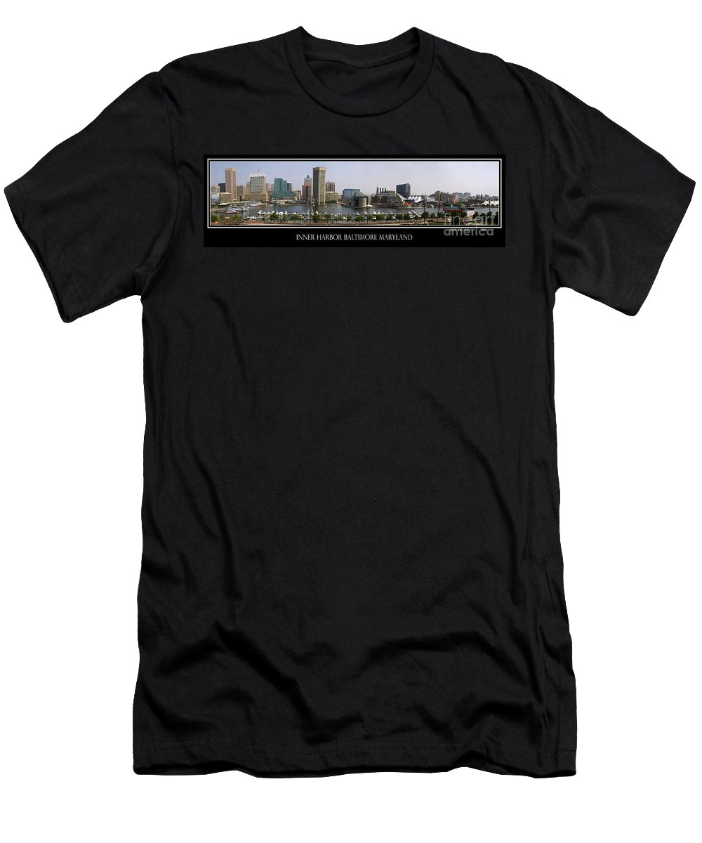 Baltimore Men's T-Shirt (Athletic Fit) featuring the photograph Baltimore Inner Harbor Panorama by Roy Thoman