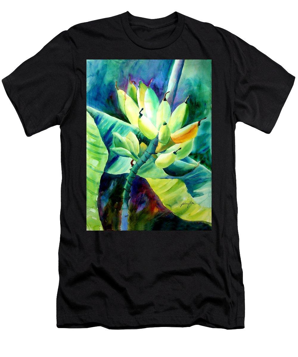 Watercolor Men's T-Shirt (Athletic Fit) featuring the painting Bananas 6-12-06 Julianne Felton by Julianne Felton