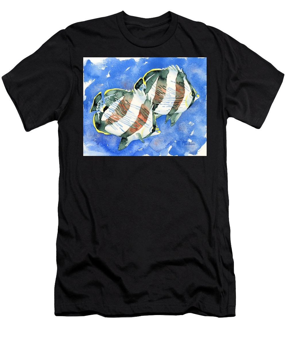 Butterflyfish Men's T-Shirt (Athletic Fit) featuring the painting Banded Butterflyfish by Pauline Walsh Jacobson