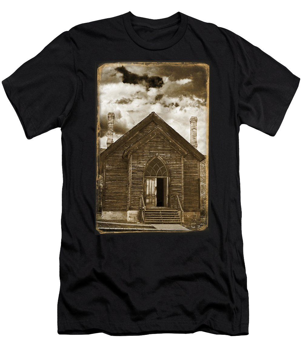 Bannack Church Men's T-Shirt (Athletic Fit) featuring the photograph Bannack Church by Wes and Dotty Weber