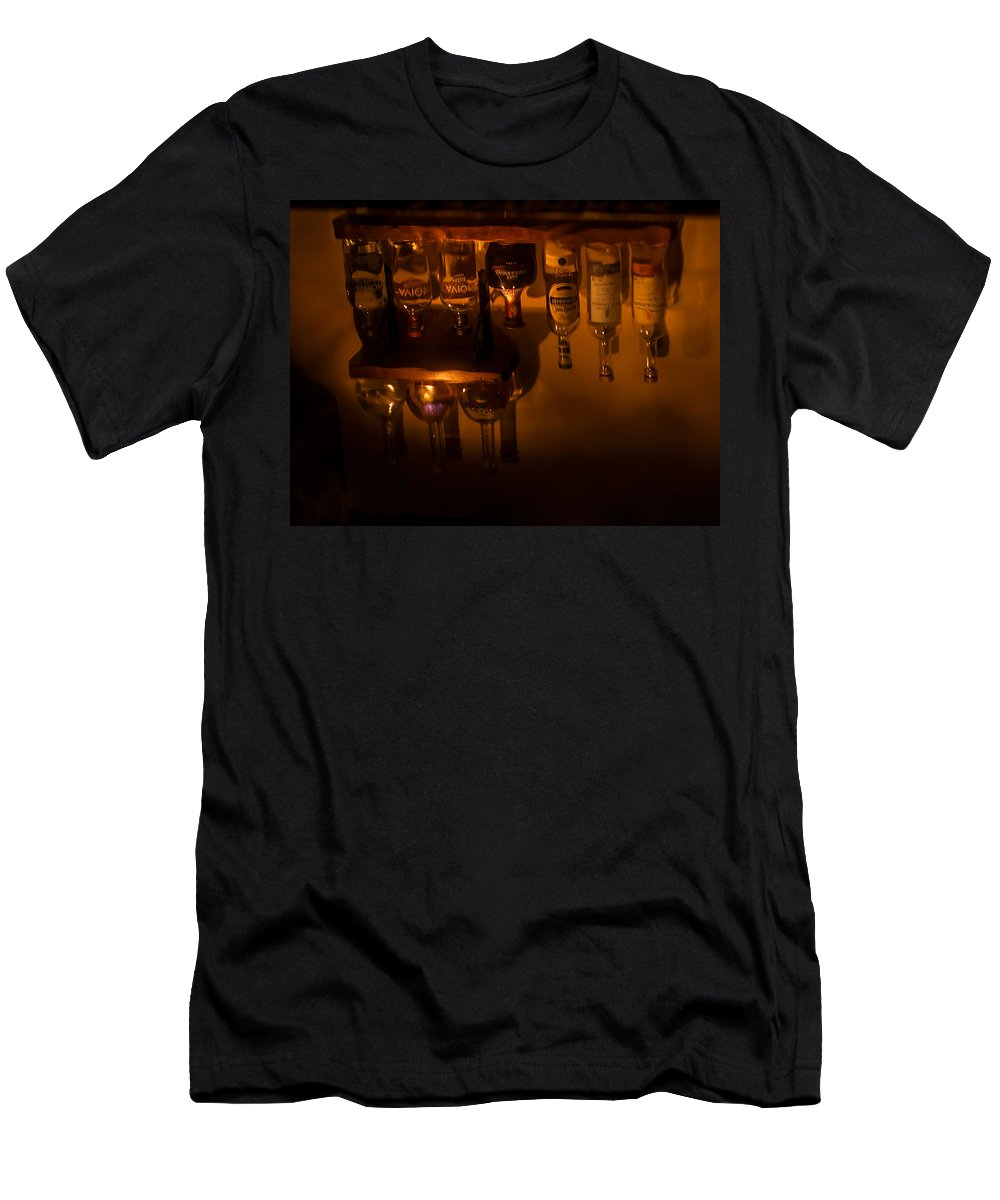 Liquor Men's T-Shirt (Athletic Fit) featuring the photograph Bar Reflection by Photos By Cassandra