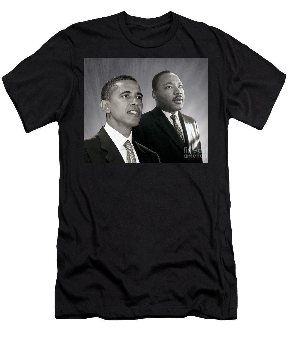 Barack Obama Men's T-Shirt (Athletic Fit) featuring the photograph Barack Obama M L King by Martin Konopacki Restoration