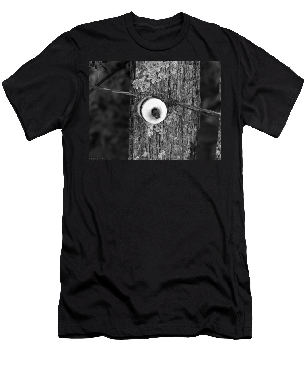 Barb Men's T-Shirt (Athletic Fit) featuring the photograph Barb Wire Insulator 3 by Nick Kirby