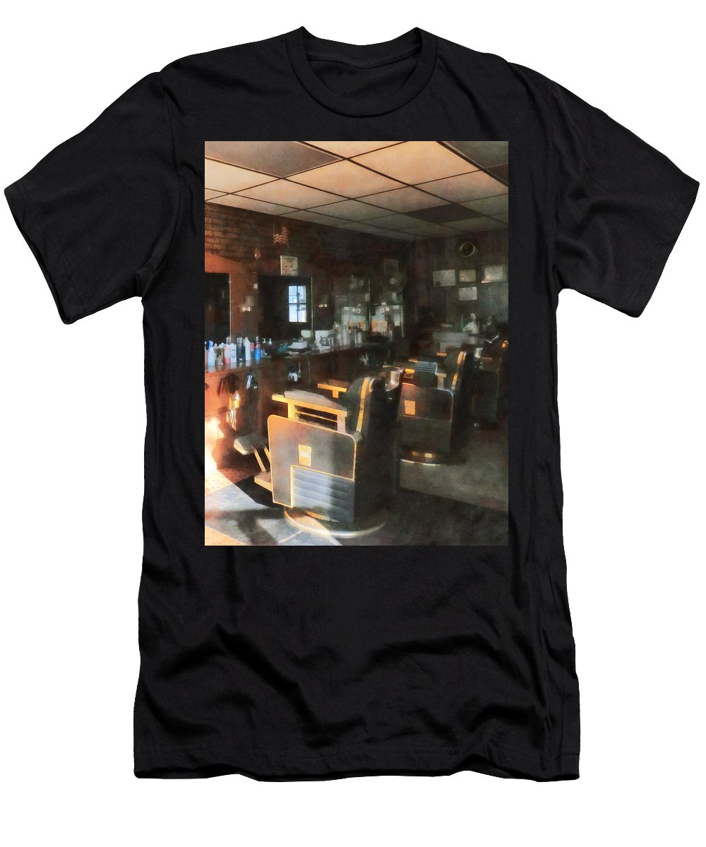 Barber Men's T-Shirt (Athletic Fit) featuring the photograph Barber - Barber Shop With Sun Streaming Through Window by Susan Savad