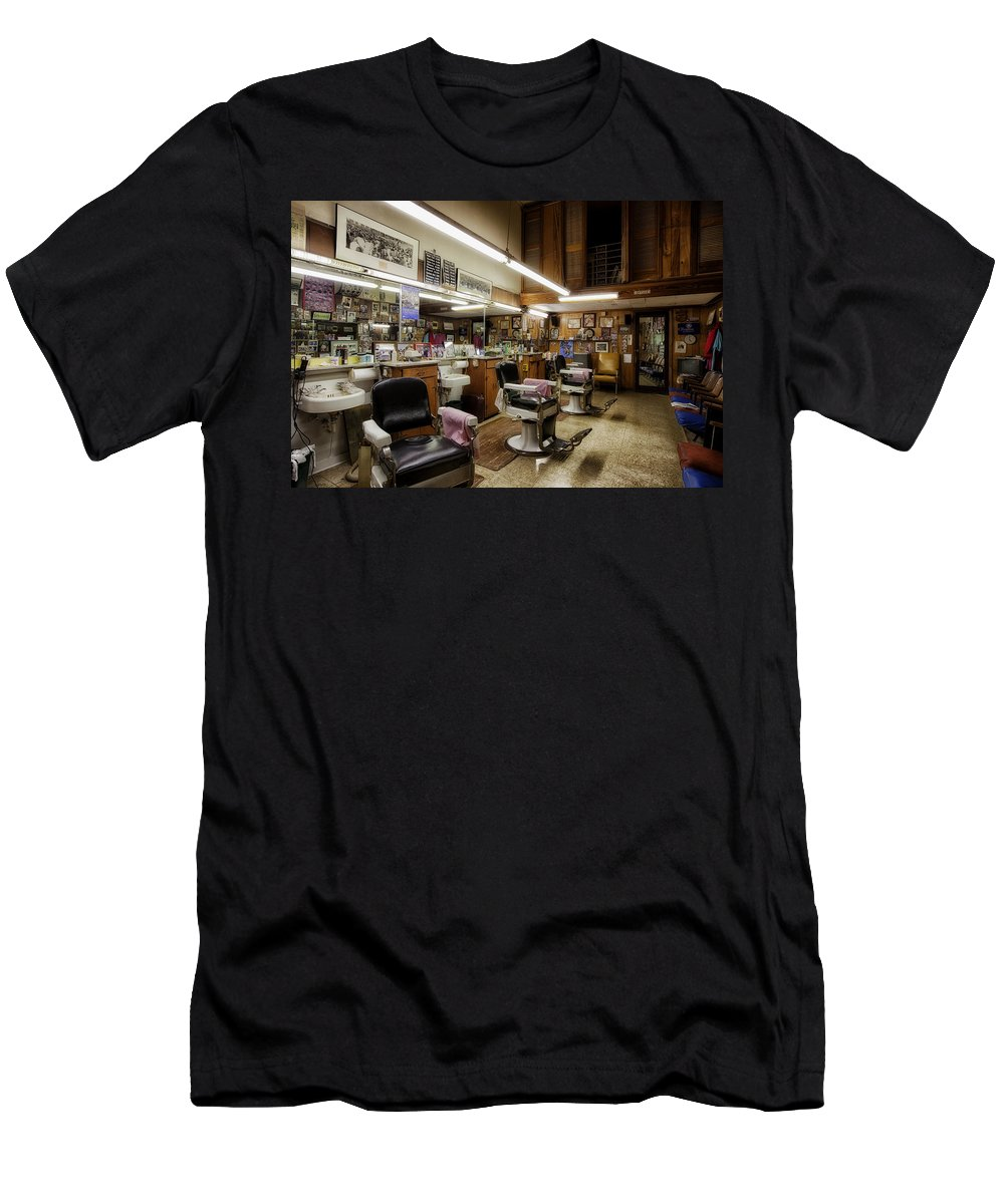 Barber Shop Men's T-Shirt (Athletic Fit) featuring the photograph Barber Shop In Montgomery Alabama by Mountain Dreams