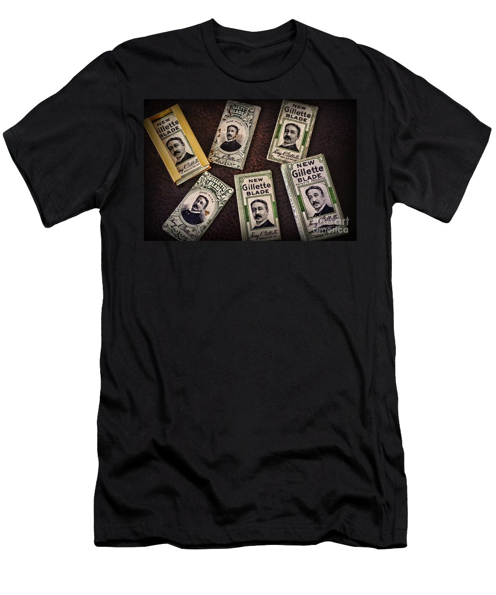 Paul Ward Men's T-Shirt (Athletic Fit) featuring the photograph Barber - Vintage Gillette Razor Blades by Paul Ward