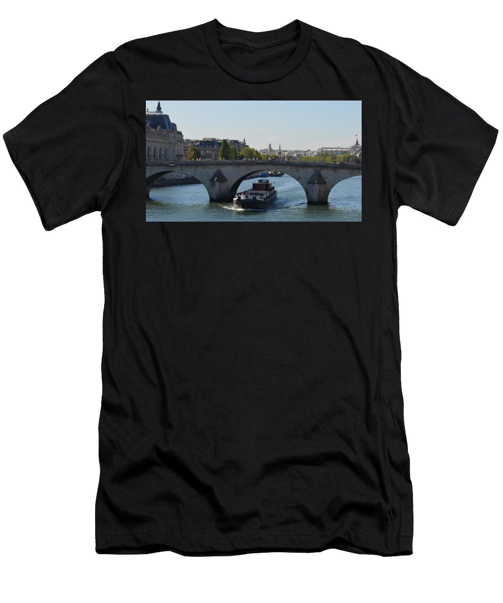 Barging Men's T-Shirt (Athletic Fit) featuring the photograph Barge On River Seine by Cheryl Miller