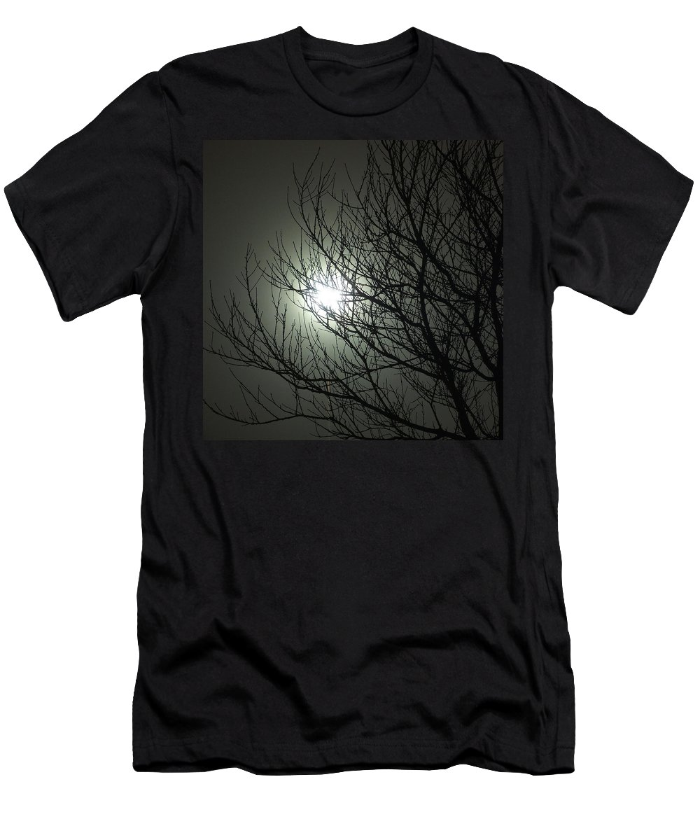 Tree Night Moon Wolf Werewolf Sky Branches Supernatural Lycanthrope Nature Men's T-Shirt (Athletic Fit) featuring the photograph Bark At The Moon by Guy Pettingell
