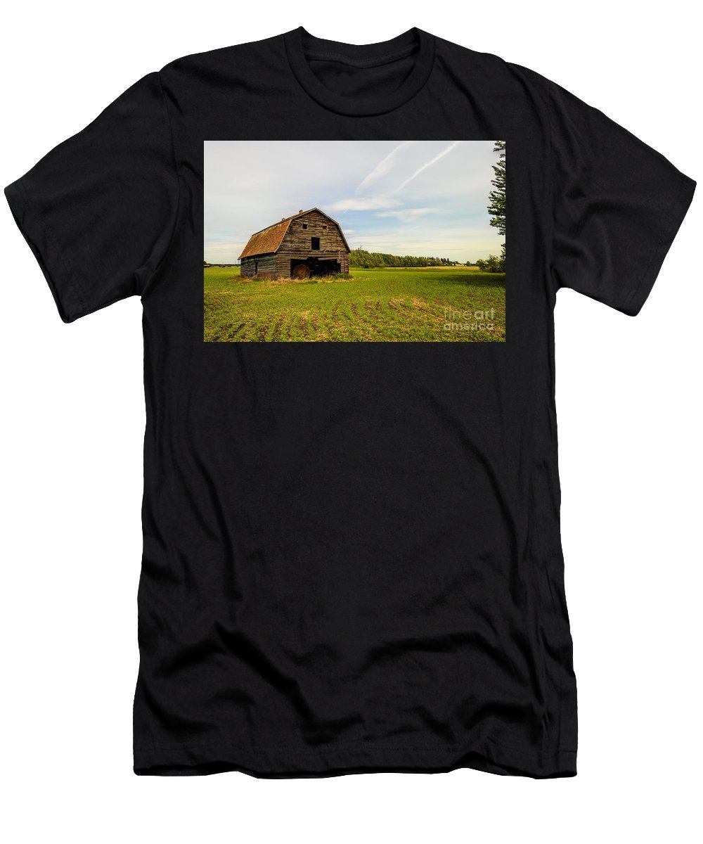 Barn Men's T-Shirt (Athletic Fit) featuring the photograph Barn On The Field by Viktor Birkus