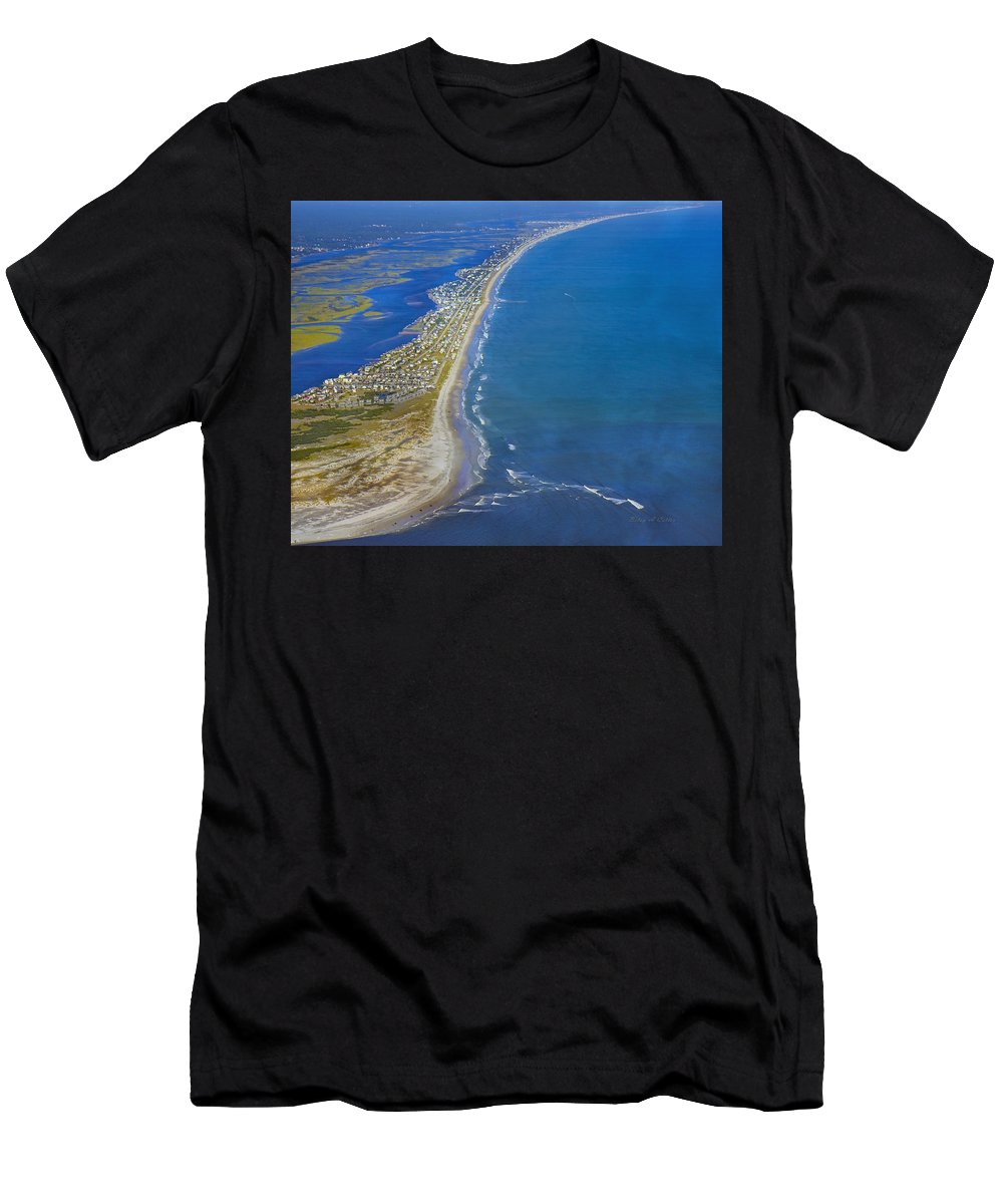Topsail Men's T-Shirt (Athletic Fit) featuring the photograph Barrier Island Aerial by Betsy Knapp