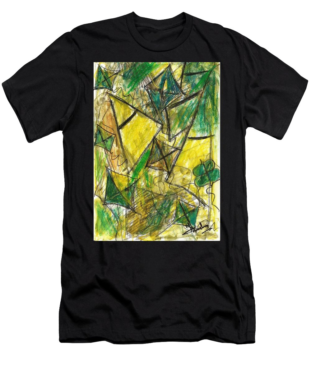 Painting Men's T-Shirt (Athletic Fit) featuring the painting Basant - Series by Fareeha Khawaja